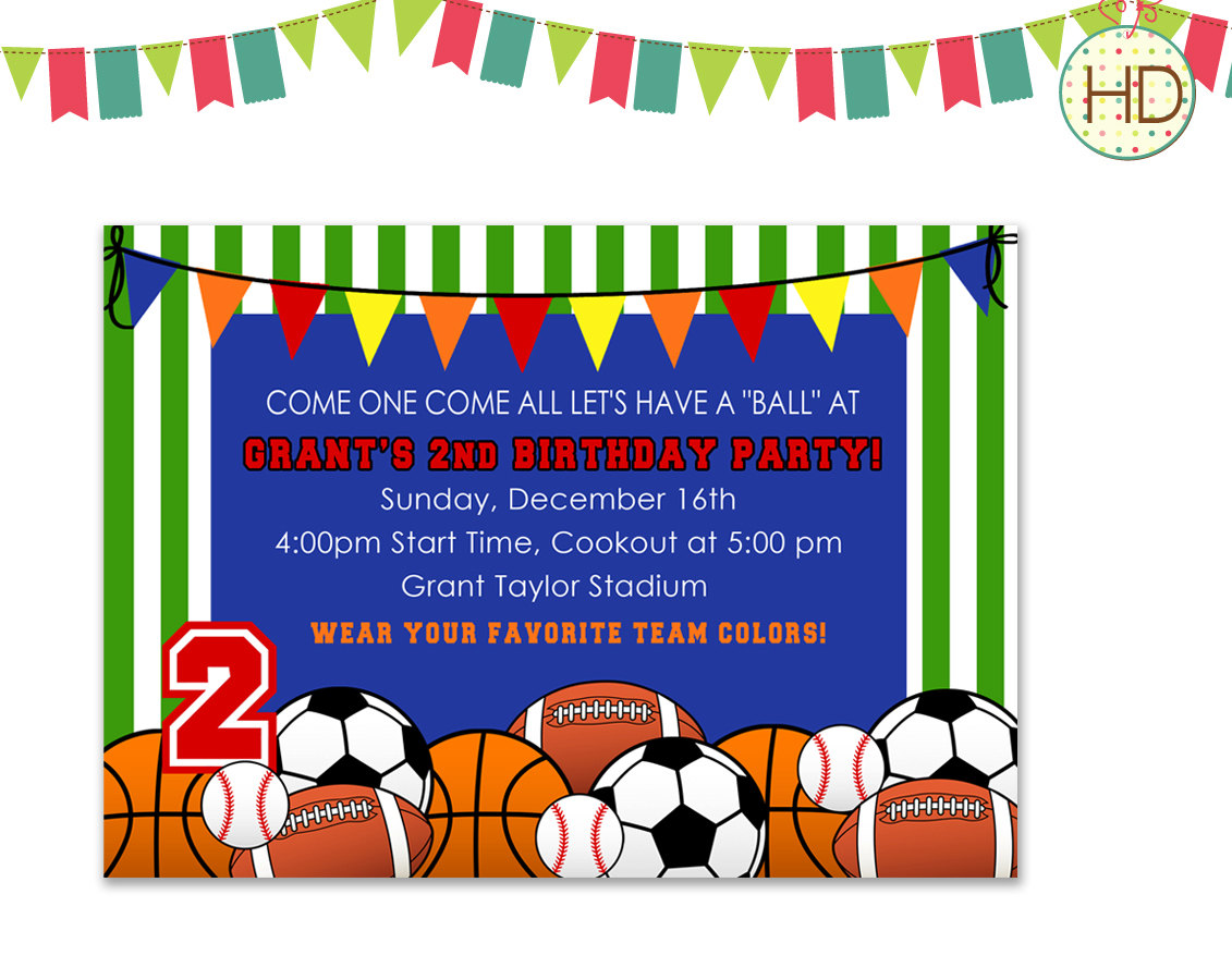 Sports Party Invitations Mickey Mouse Invitations Templates – Sports Birthday Party Invitation
