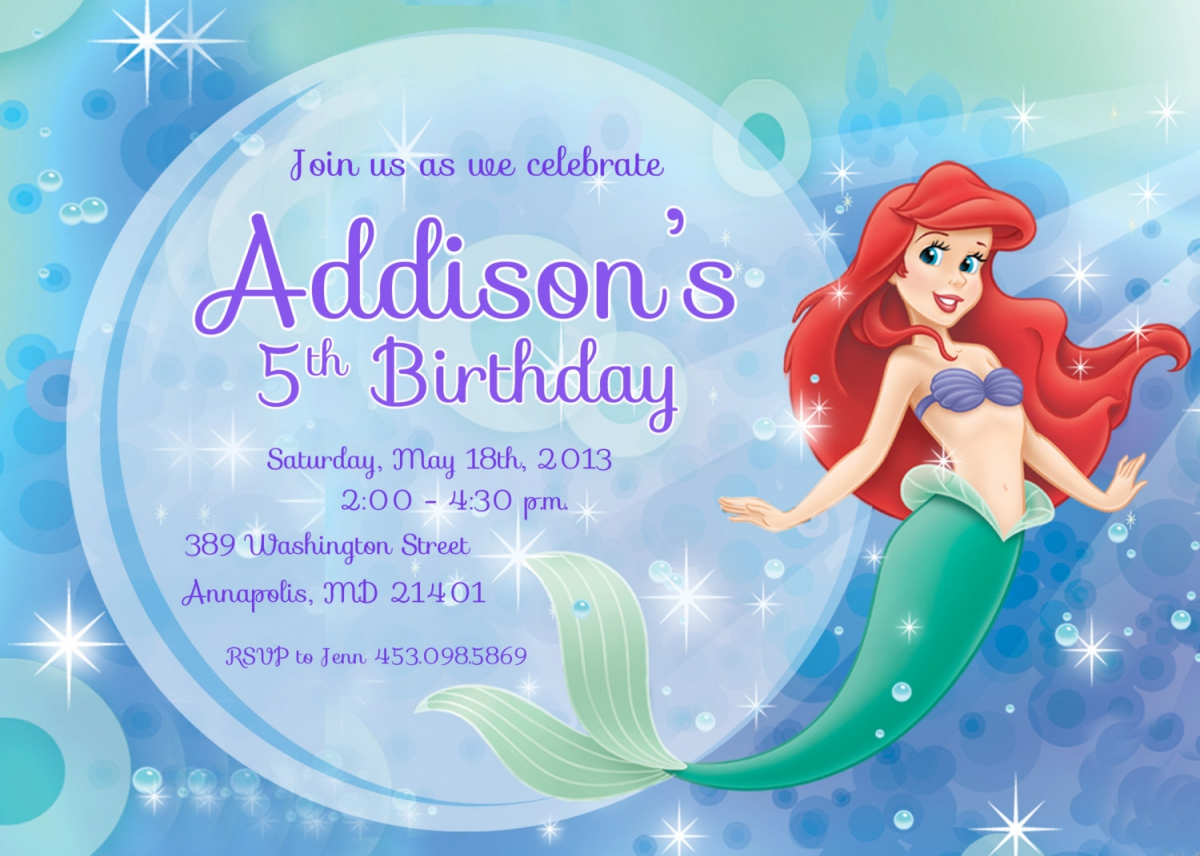 Little mermaid party invitations mickey mouse invitations templates little mermaid party invitations monicamarmolfo Images