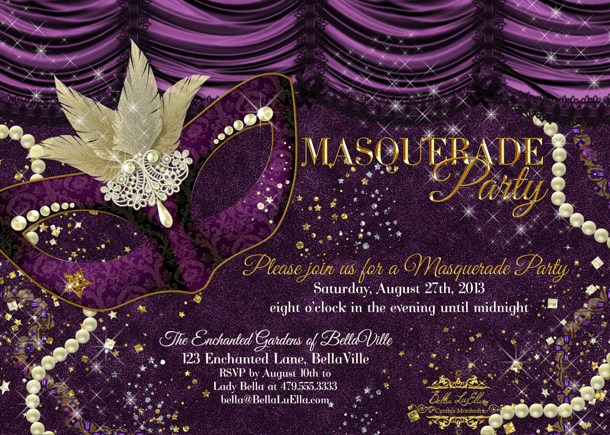 Masquerade Theme Party Invitations - Mickey Mouse Invitations ...
