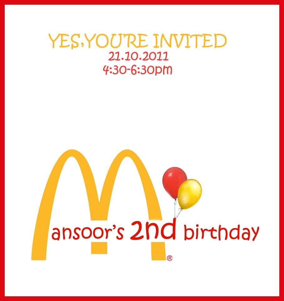 Mcdonalds Birthday Party Invitations