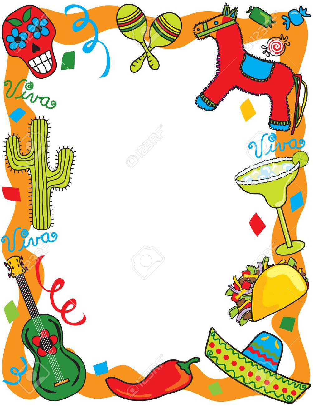 Mexican Fiesta Party Invitation Royalty Free Cliparts, Vectors