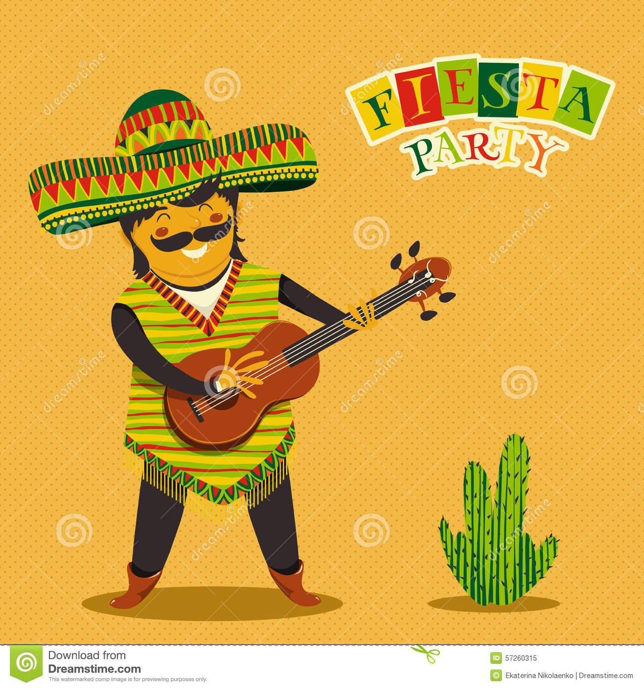 Mexican Fiesta Party Invitation With Mexican Man Playing The