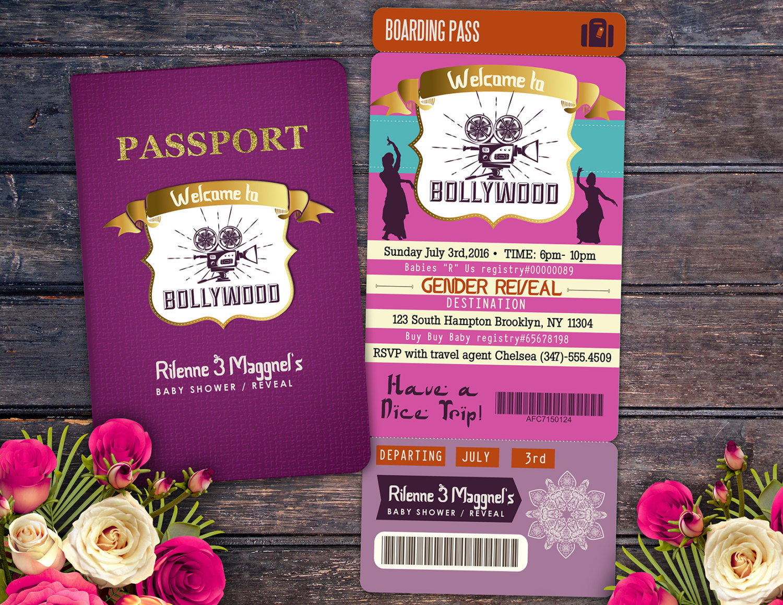 Passport And Ticket Baby Shower Invitation! Girl Birthday Party