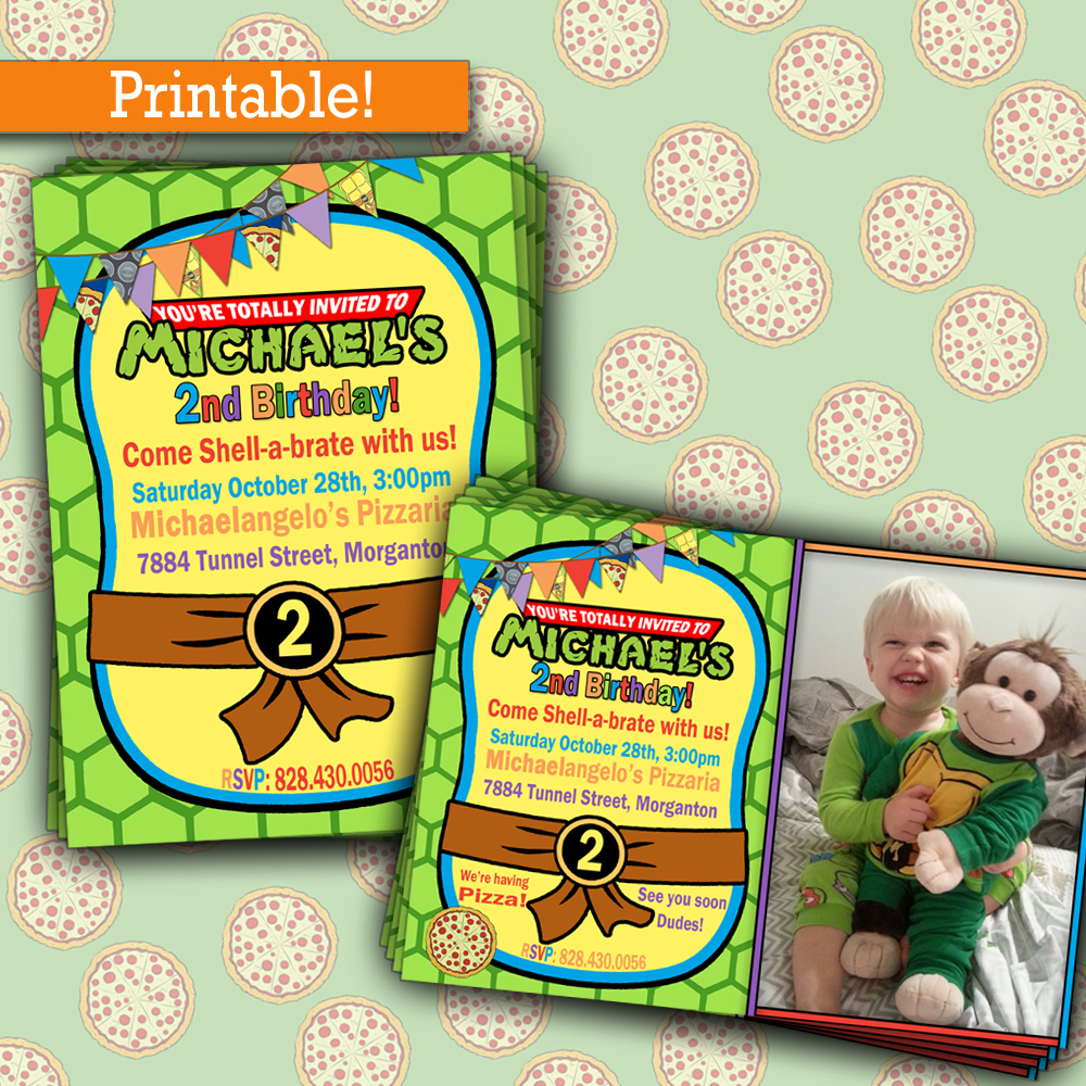 Ninja Turtles Party Invitations gangcraftnet