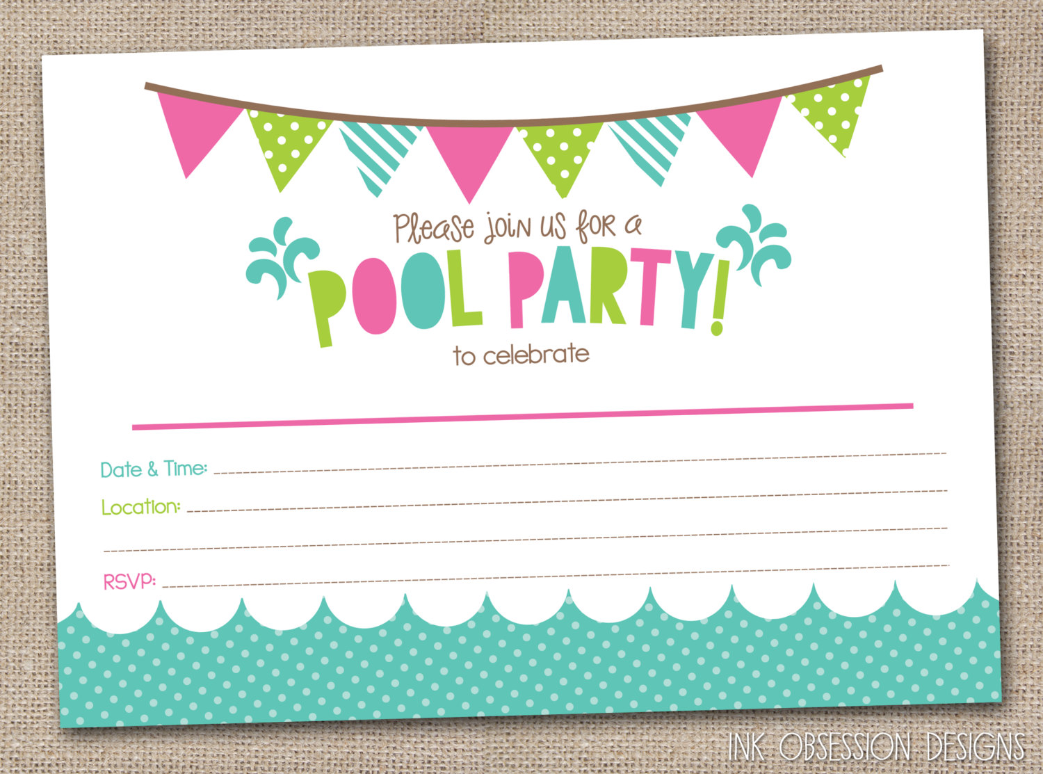swimming party invitation template free
