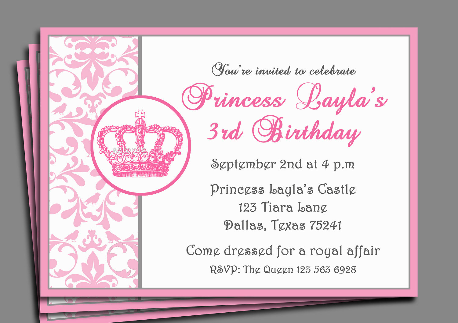 Free Printable Princess Birthday Invitations Templates Party Invitation Wording