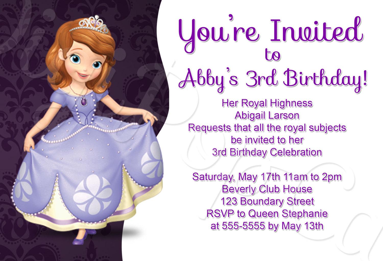 Princess sofia party invitations stopboris Images