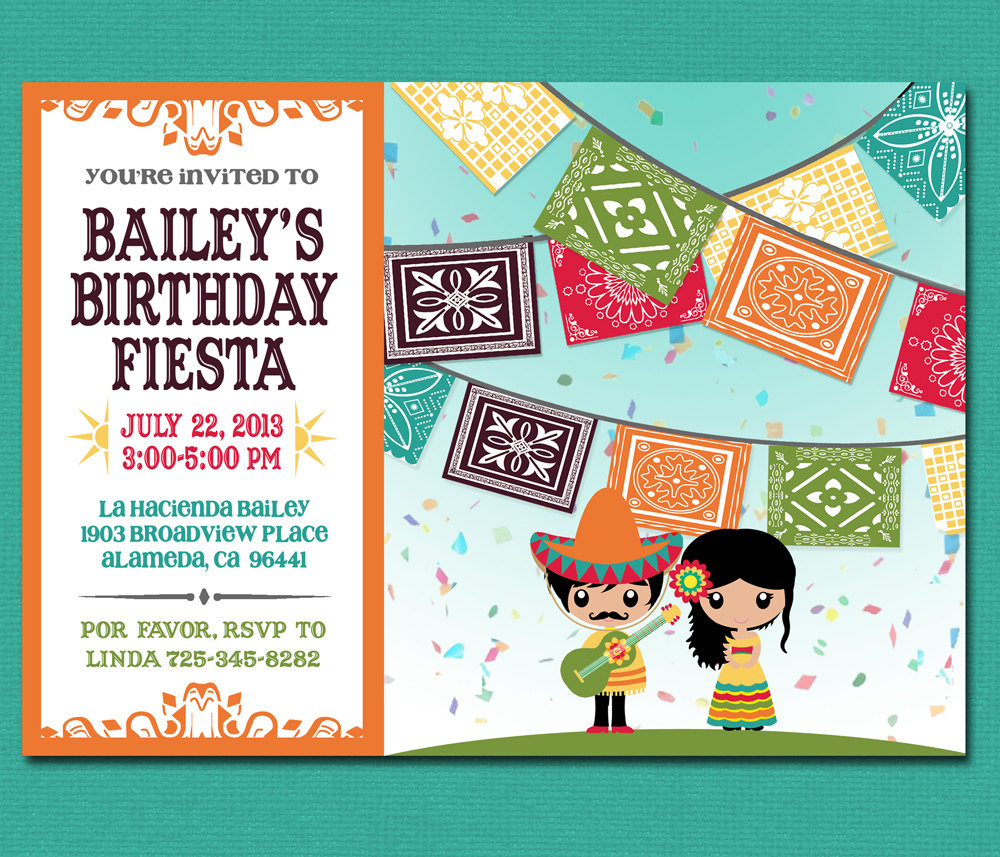 Print Yourself Kid's Mexican Fiesta Invitation By Cardvarkdesigns