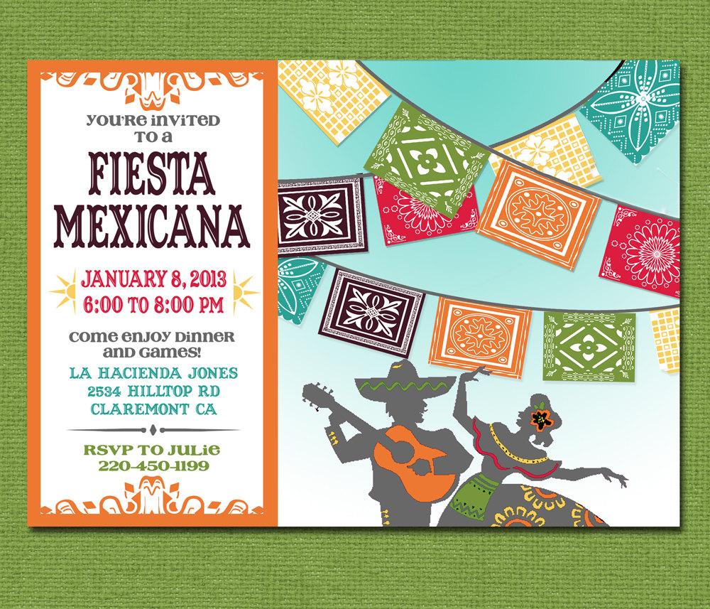 Print Yourself Mexican Fiesta Invitation, Custom Printable Party
