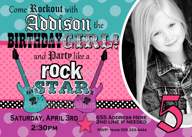 Rock Star Invite Girl Rockstar Invite Rocker By Jrcreativedesigns
