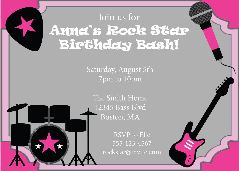 Rock Star Party Invitation Birthday Invite By Cowprintdesigns