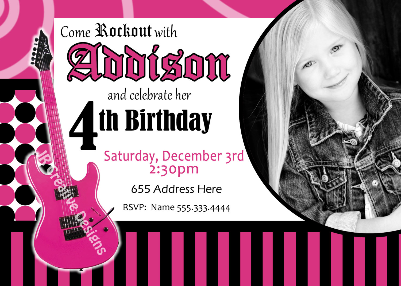 Rockstar Birthday Party Invitations