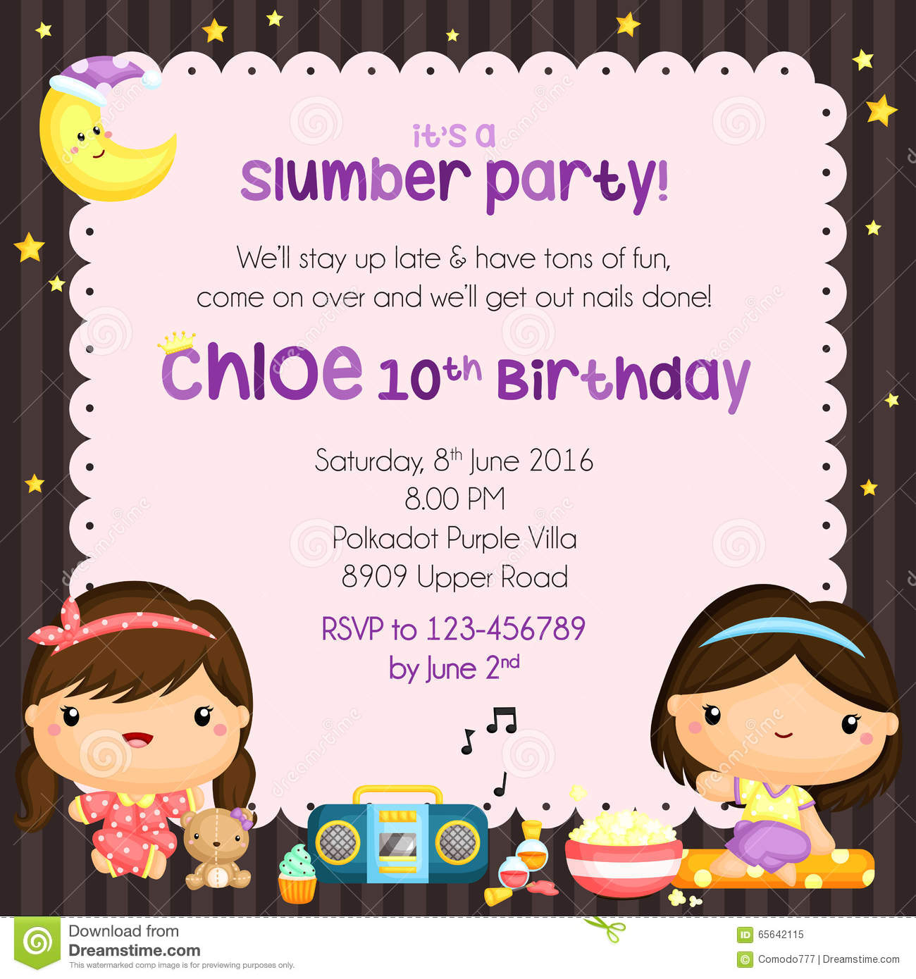 Sleepover Birthday Party Invitation Card Stock Vector