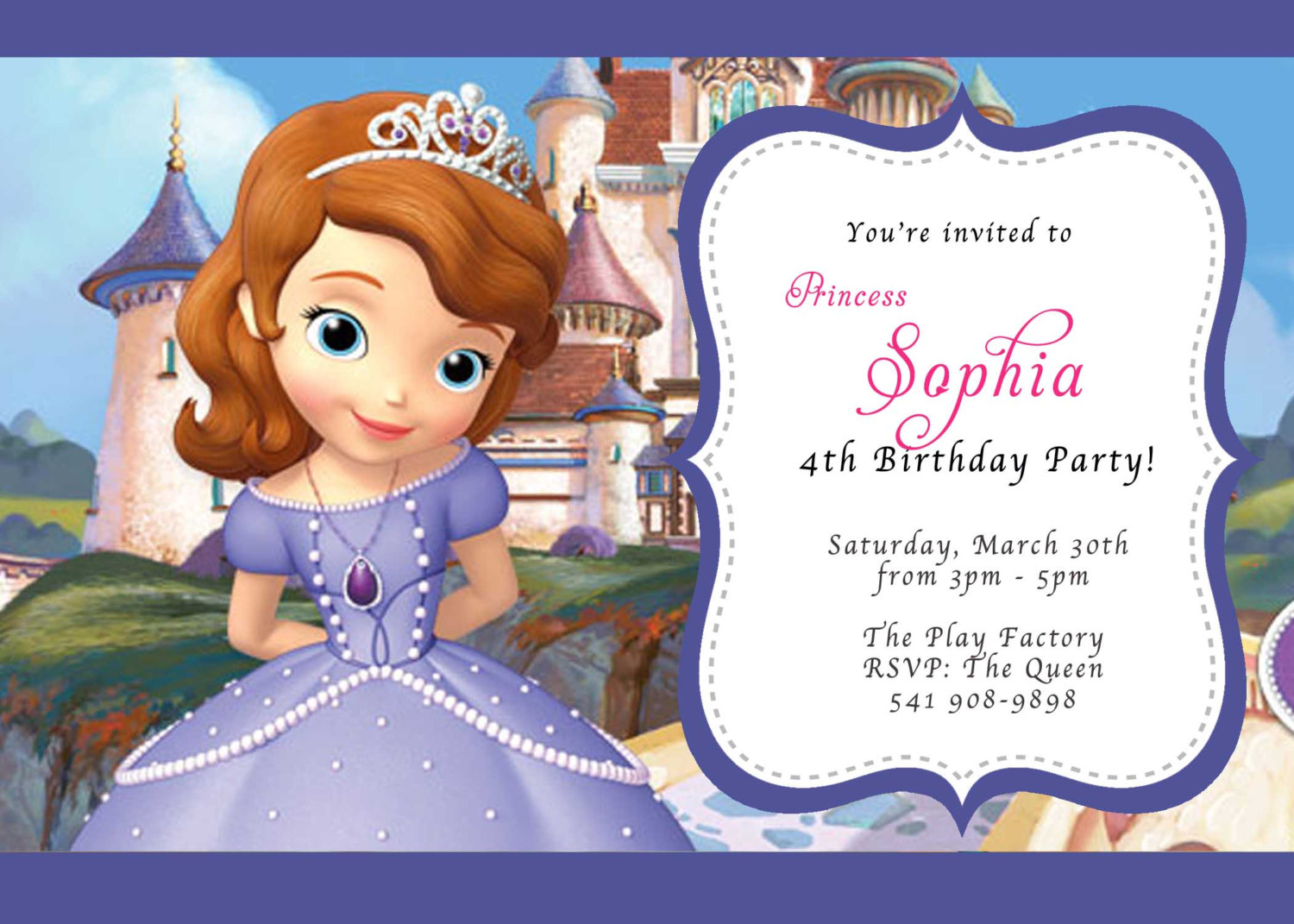 Sofia Birthday Party Invitations Templates Corporate Xmas Cards - Sofia the first party invitation template