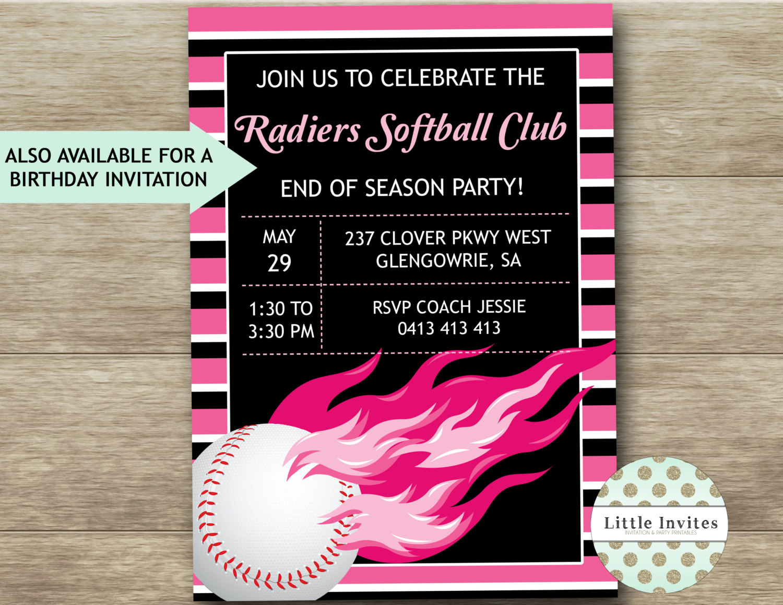 Softball Birthday Invitations Softball Party