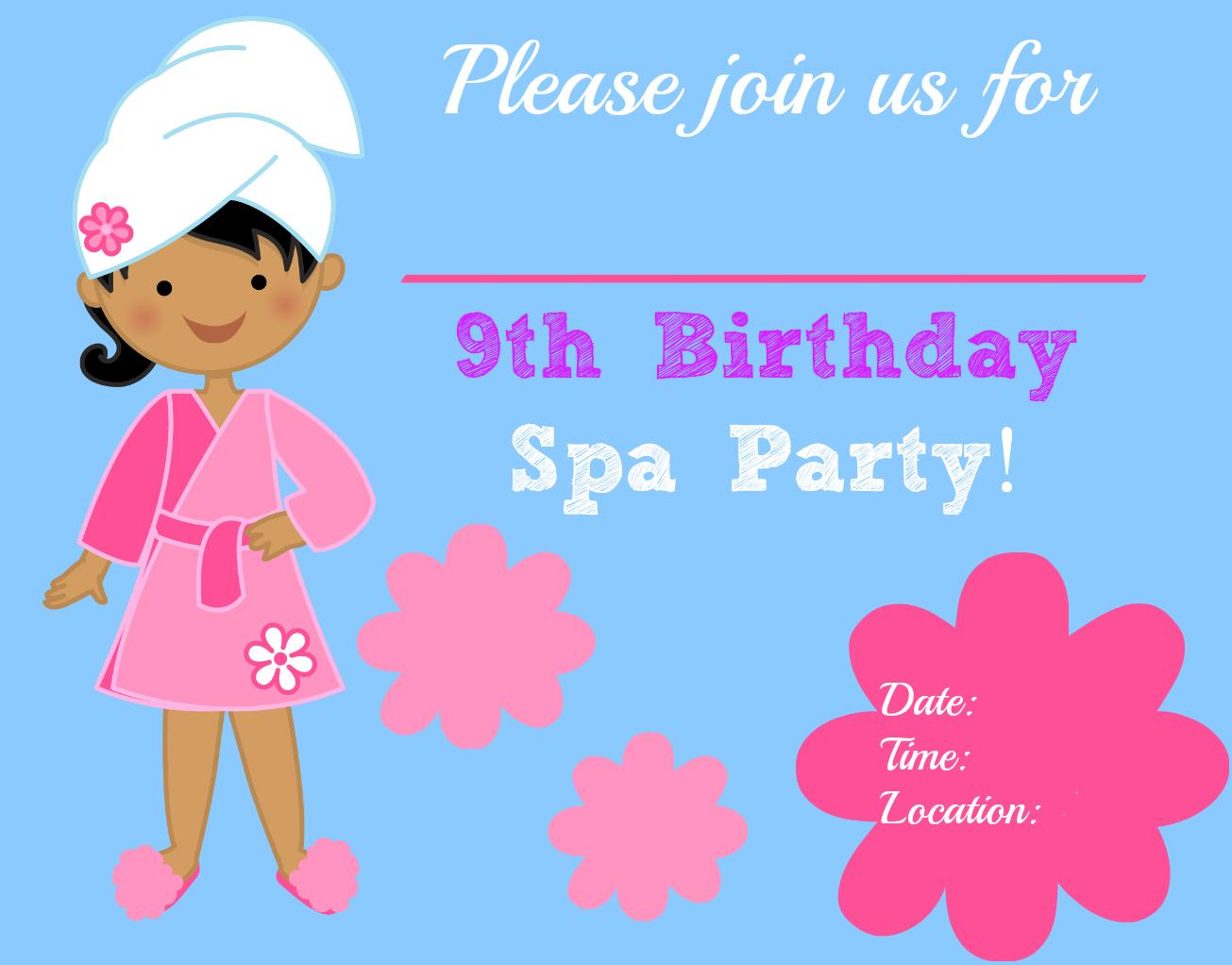 spa birthday party invitation template com spa birthday party invitations 1