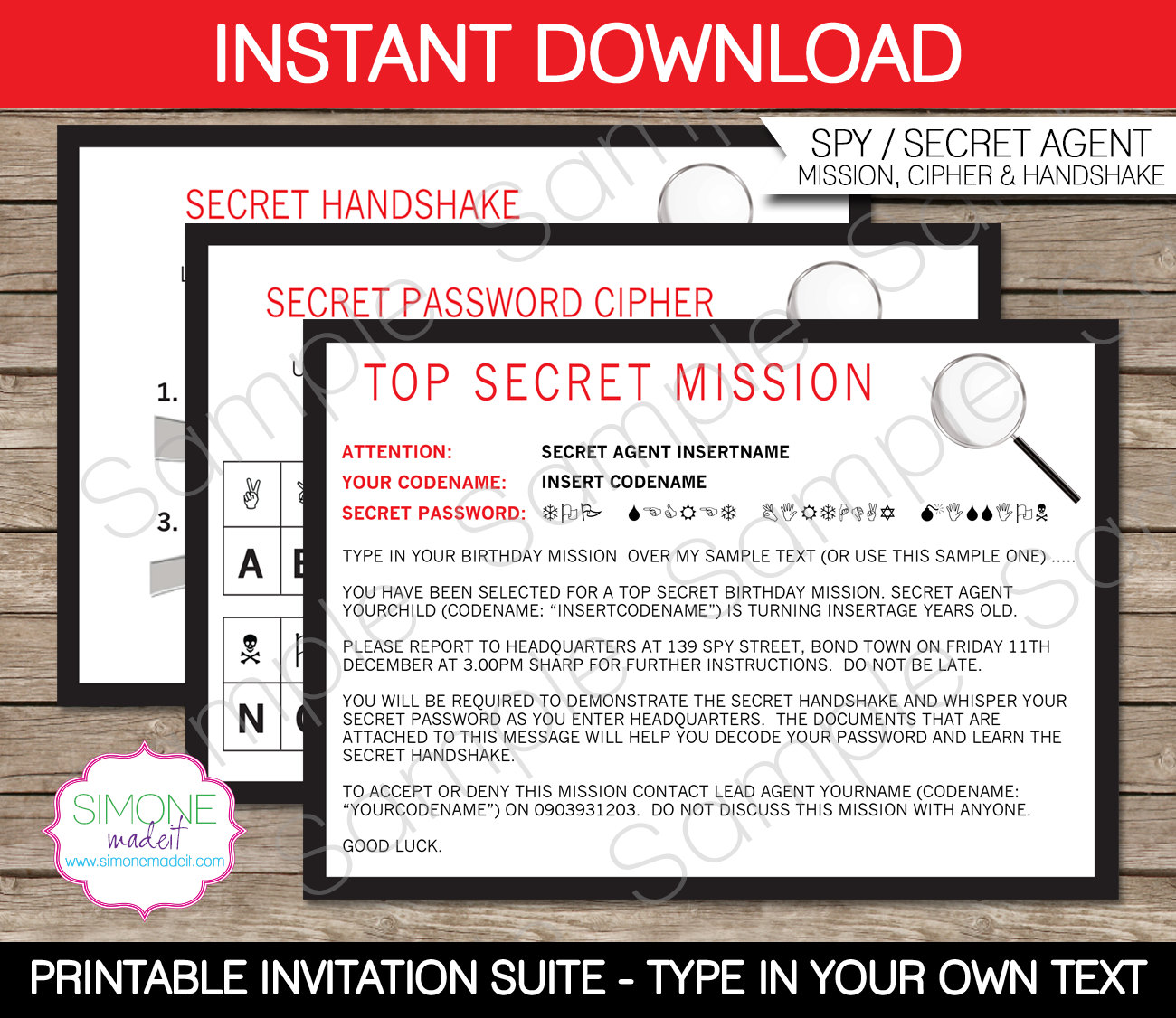 Secret Agent Party Invitations Mickey Mouse Invitations