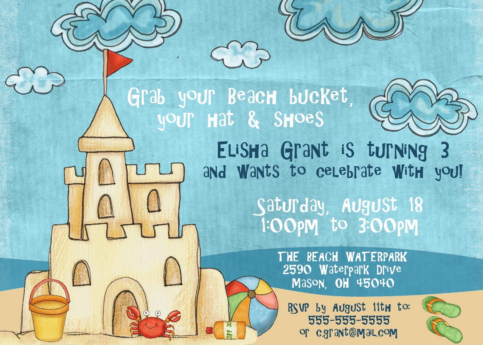 Beach Birthday Party Invitations - Mickey Mouse Invitations Templates