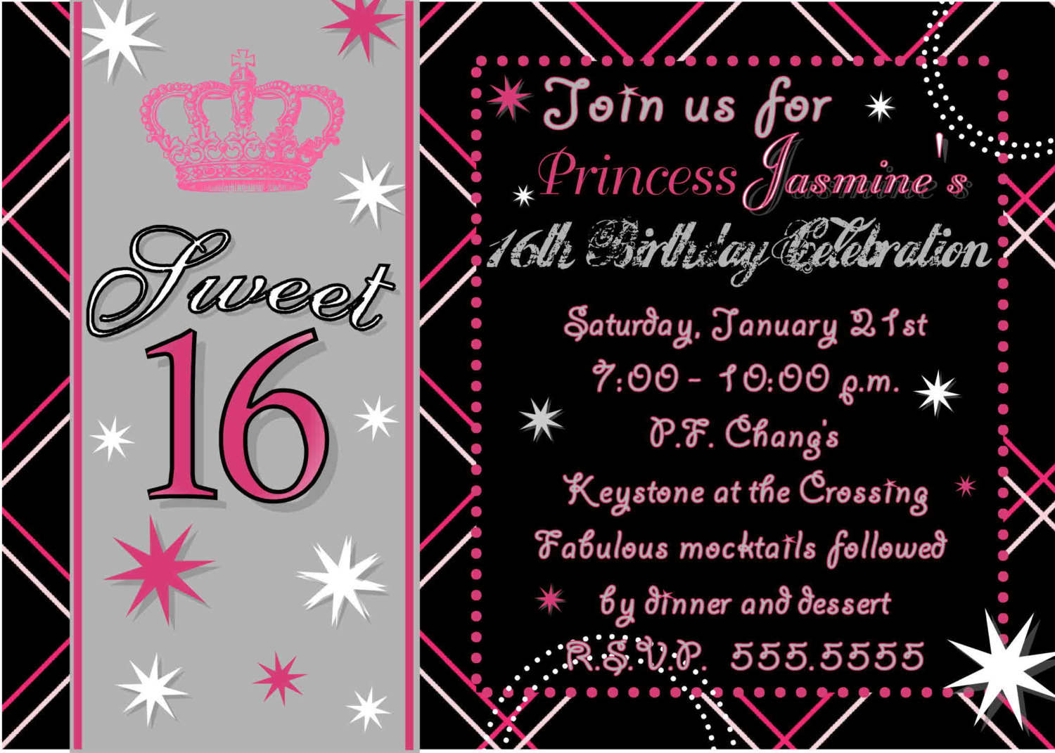 Sweet 16 Party Invitations Templates Sample Sweet 16 Party