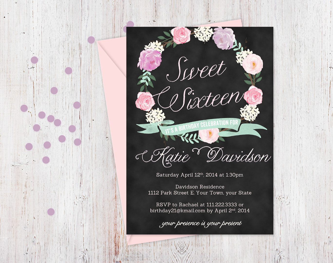 Sweet Dress 16th Birthday Invitations Wording Templates  Birthday