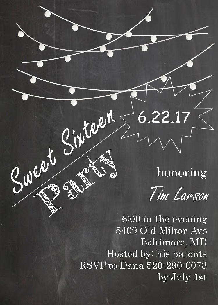 Sweet Sixteen 16 Party Invitation New Selections Spring 2017