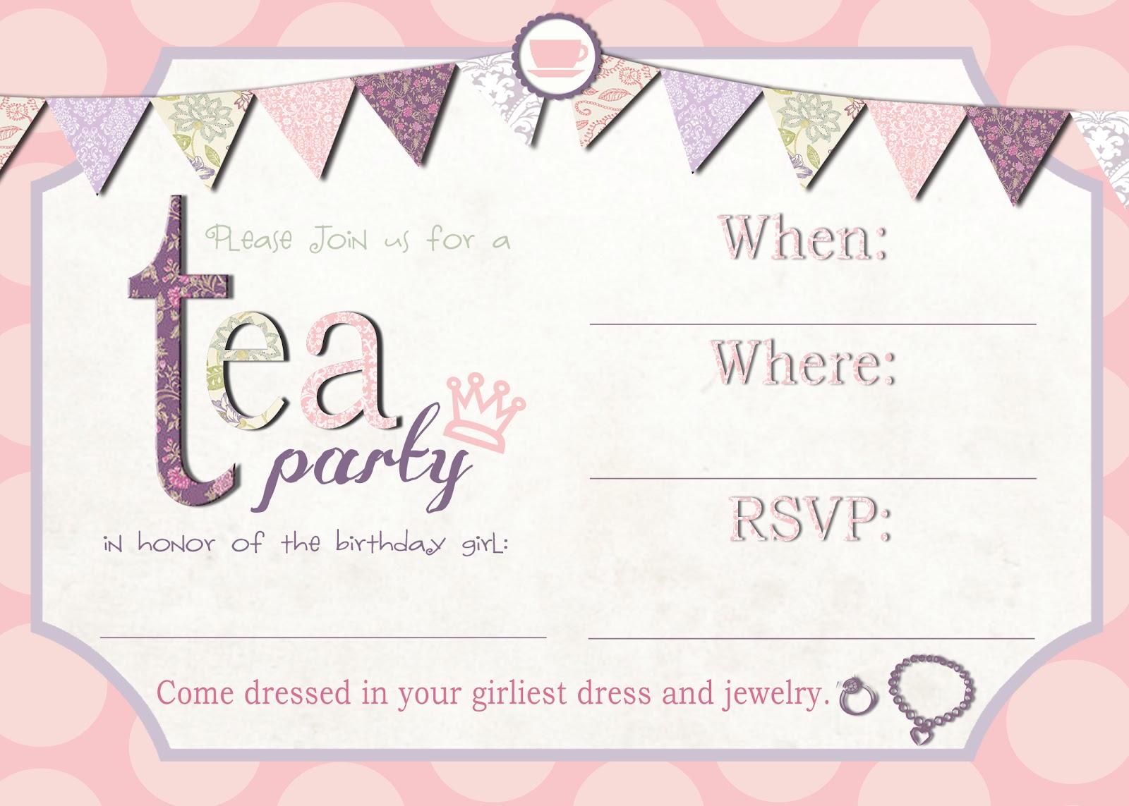 Tea Party Free Printable