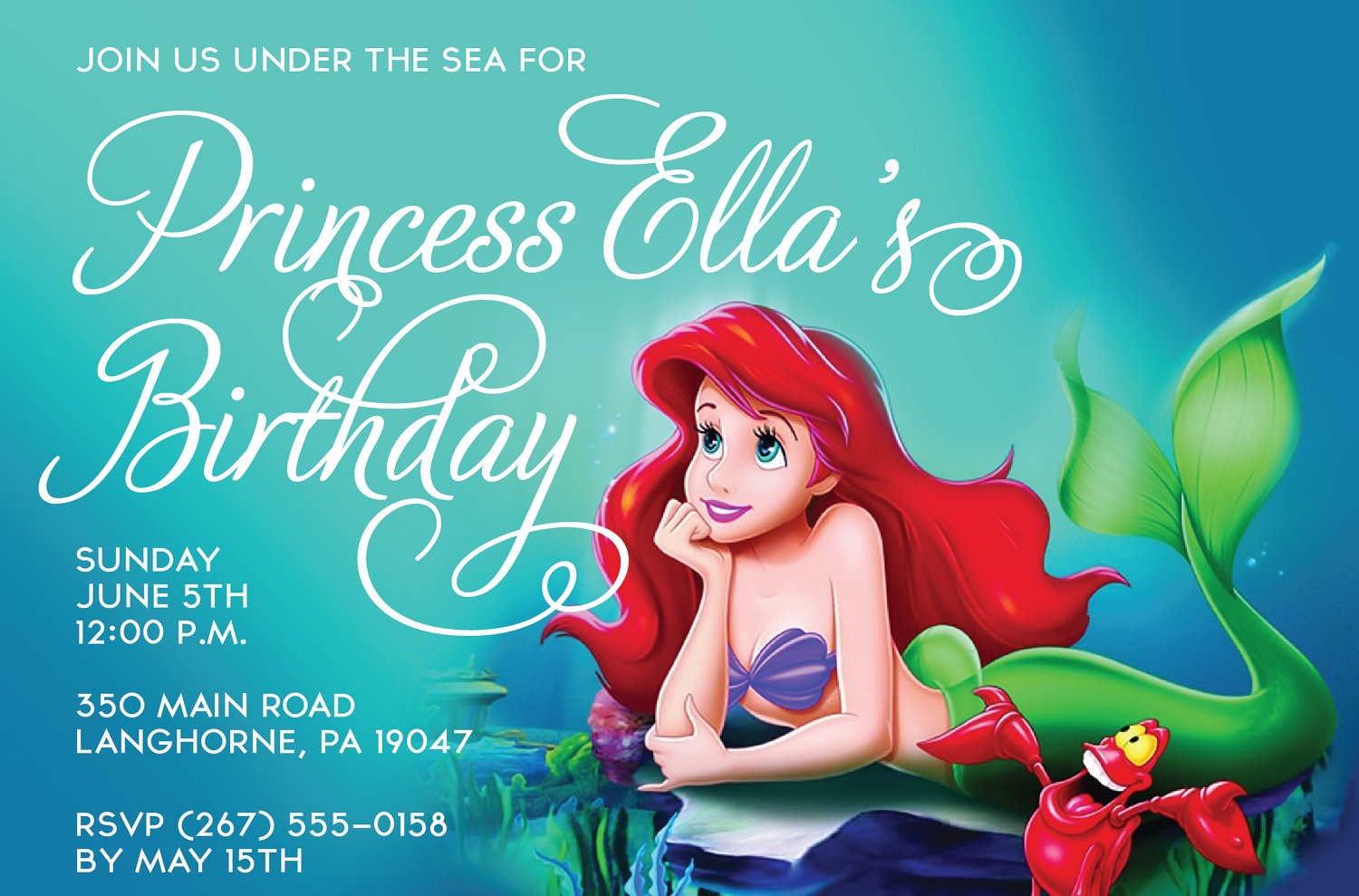 Little Mermaid Party Invitations