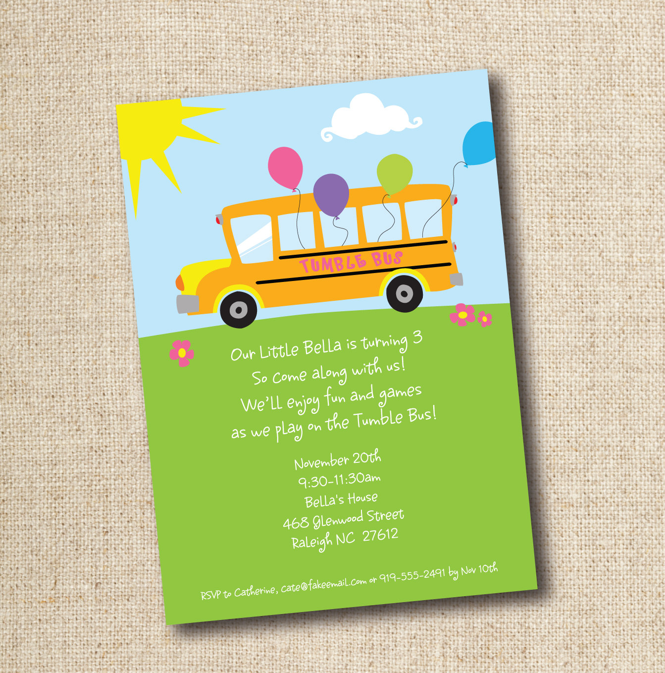 Tumble Bus   Fun Bus Birthday Party Invitation By Lilygirlpaper