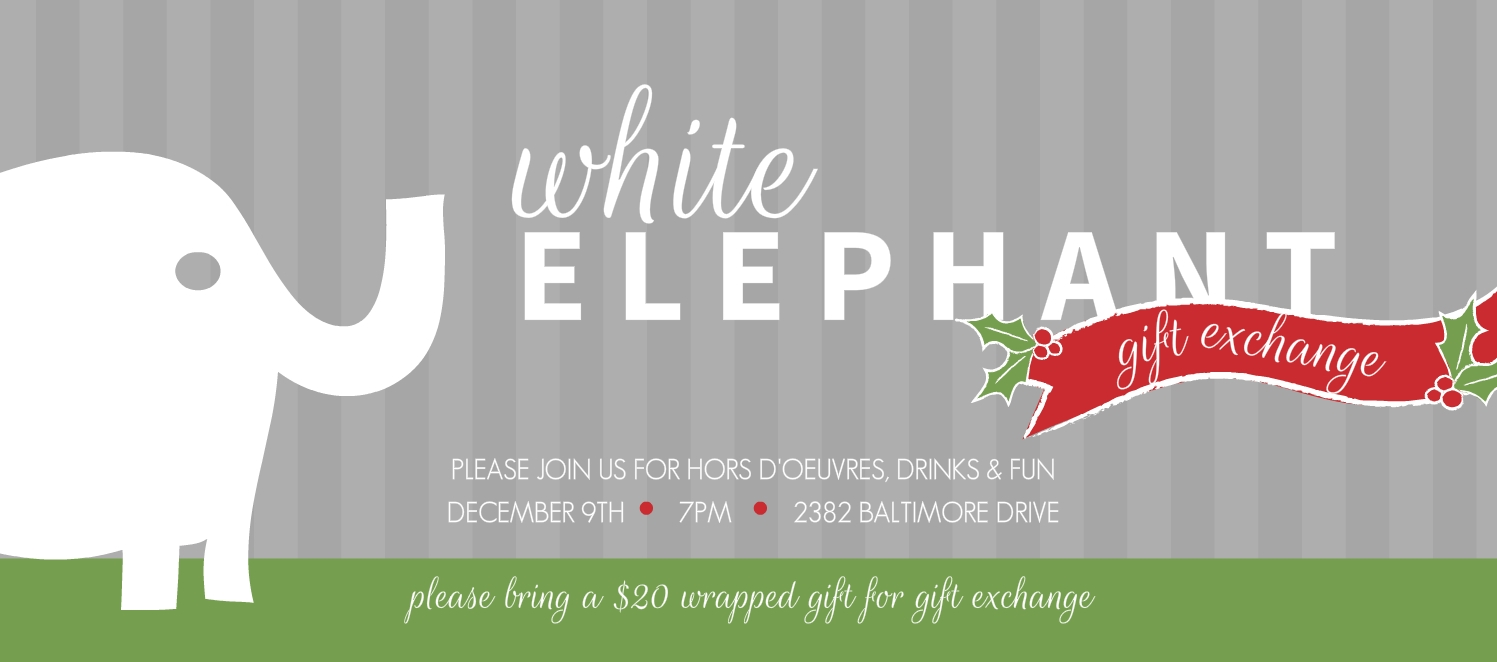 white elephant party invitation  mickey mouse invitations templates, Party invitations