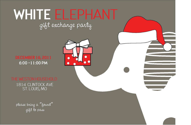 white elephant party invitation  mickey mouse invitations templates, Party invitations