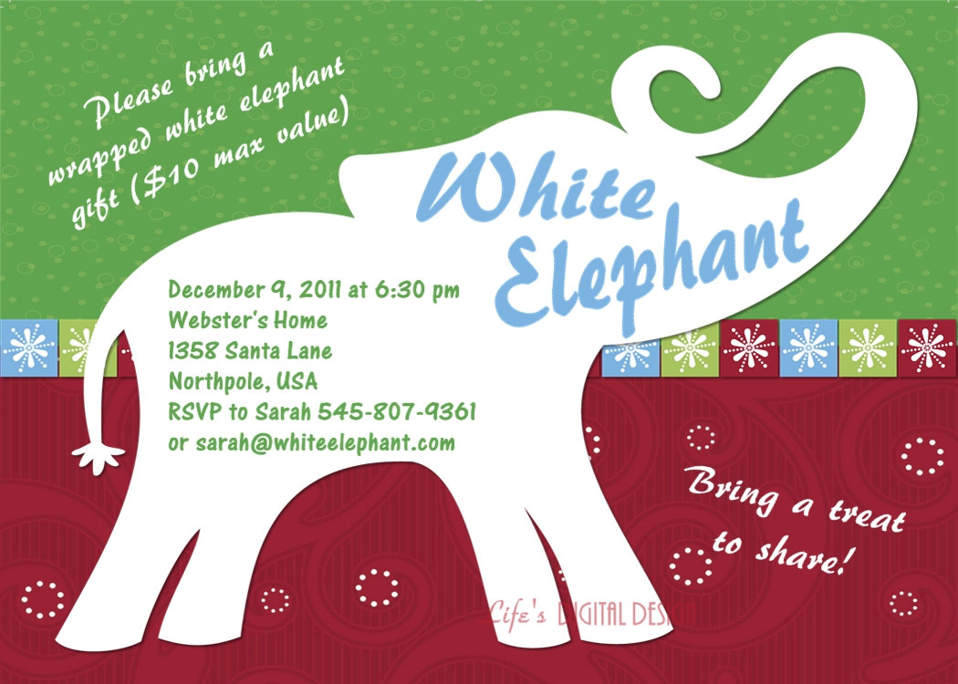 White Elephant Party Invitation Mickey Mouse Invitations Templates - White elephant christmas party invitations templates