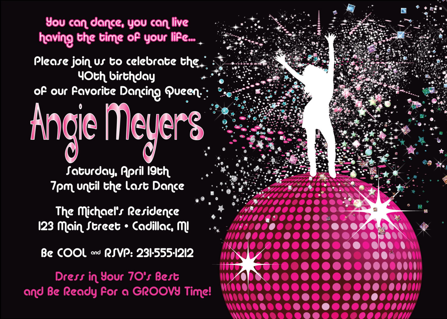 Disco Invitation Wording Amazing Invitation Template Design By