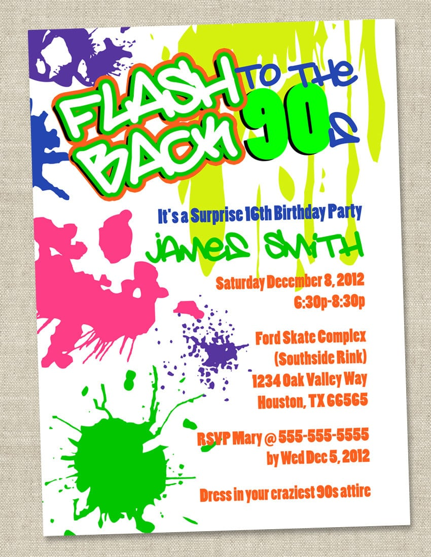 1000+ Images About 90's Invitations On Pinterest