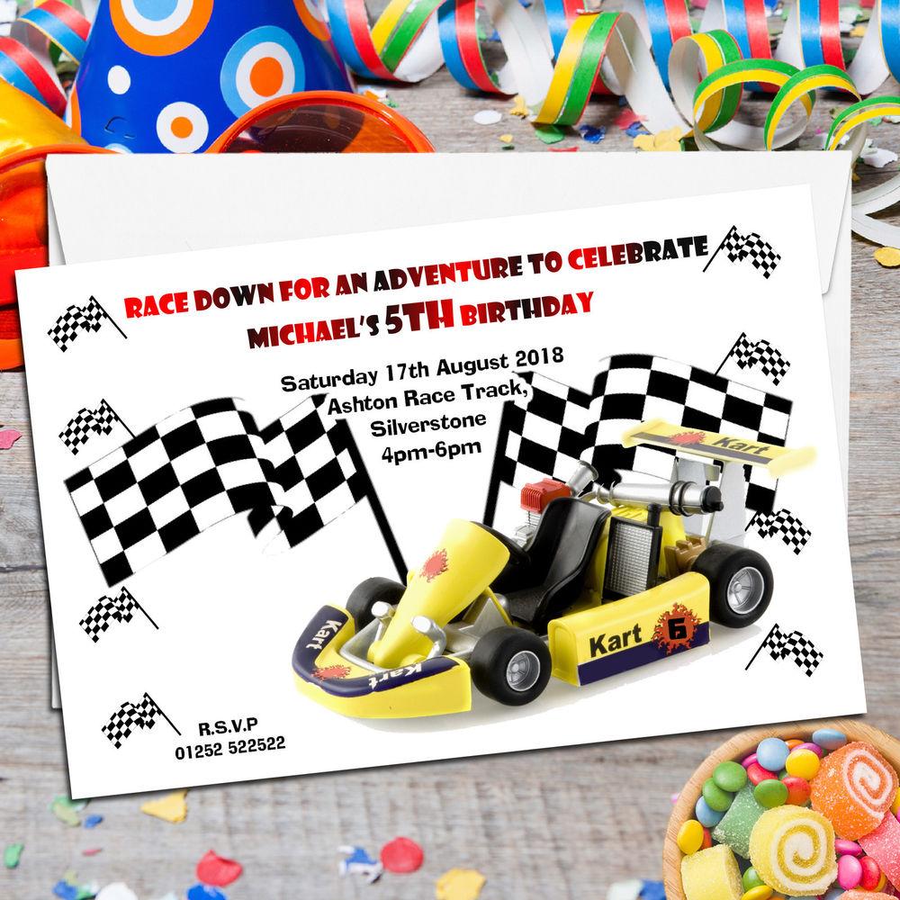 10 Personalised Girls Boys Go Kart Racing Car Birthday Party