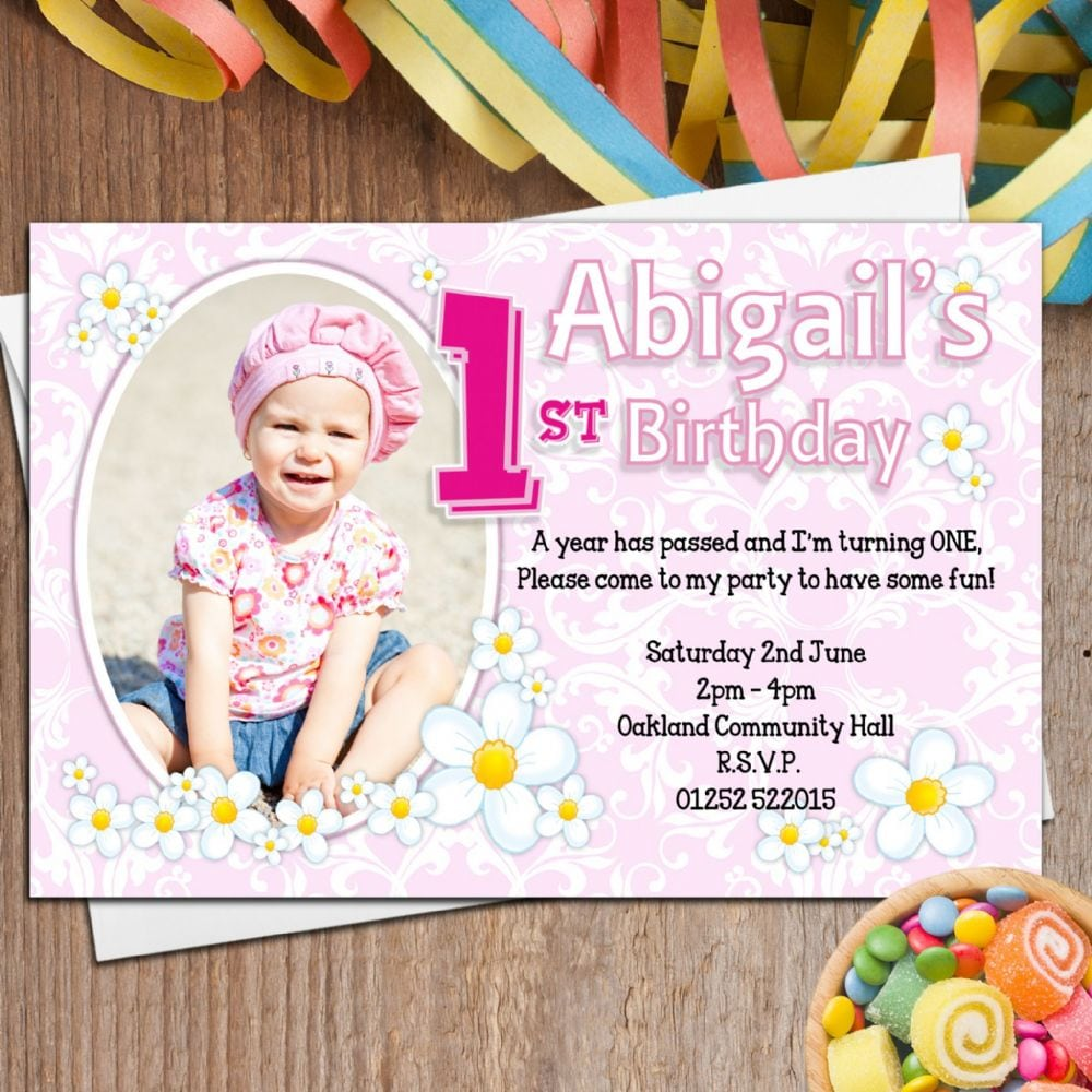 10 Personalised Girls First 1st Birthday Party Photo Invitations