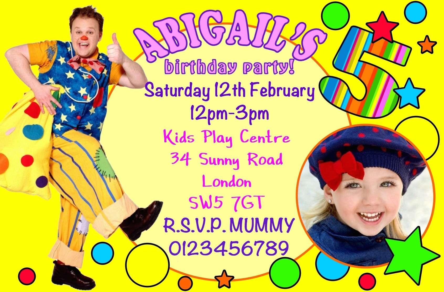 10 Personalised Girls Mr Tumble Birthday Party Invitations