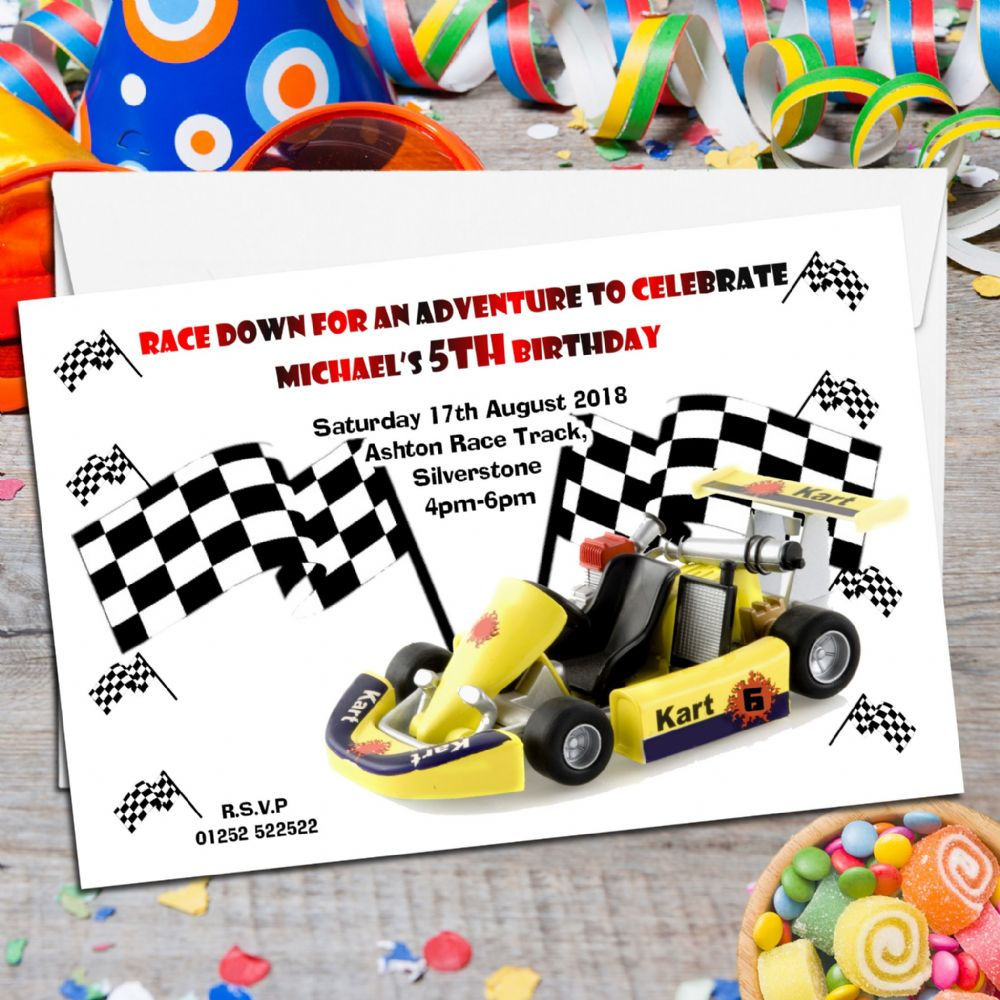 10 Personalised Go Karting Birthday Party Invitations N20