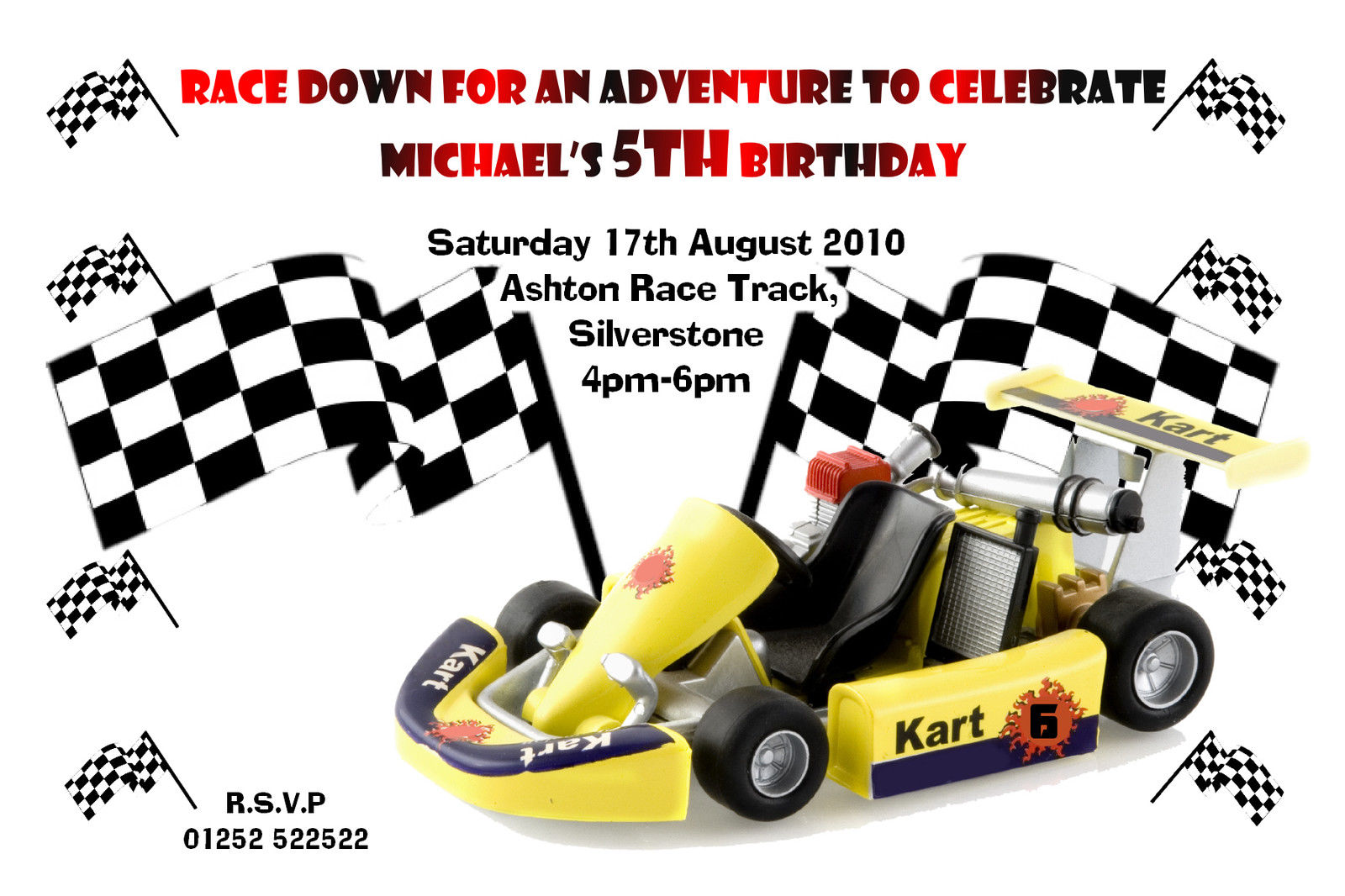 10 Personalised Go Karting Racing Car Party Invitations N20 Boys