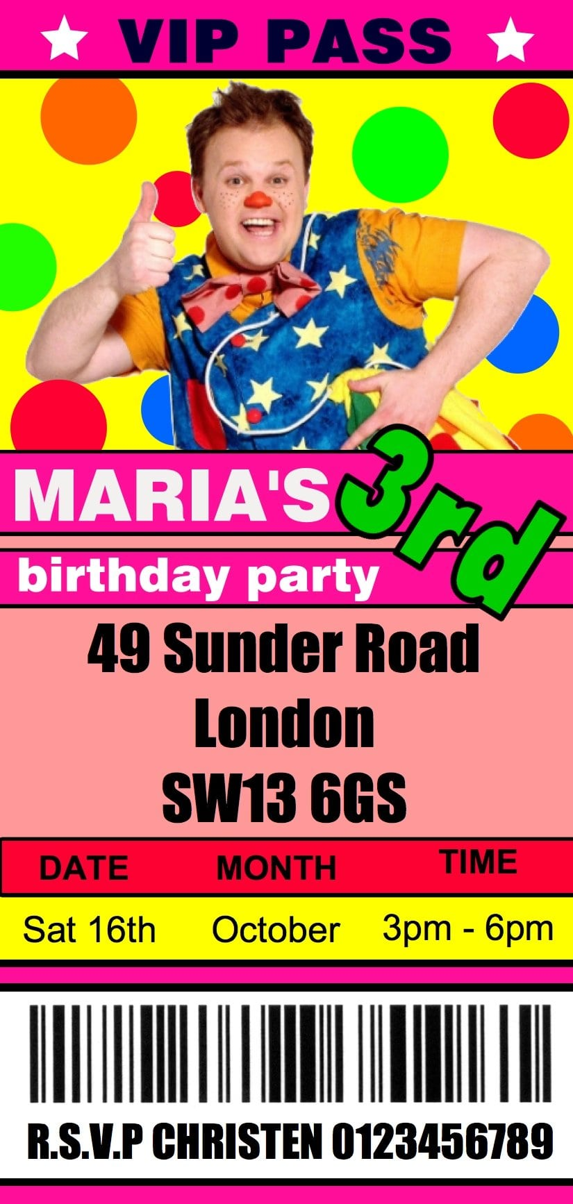 10 Personalised Mr Tumble Birthday Party Invitations Ticket   Vip