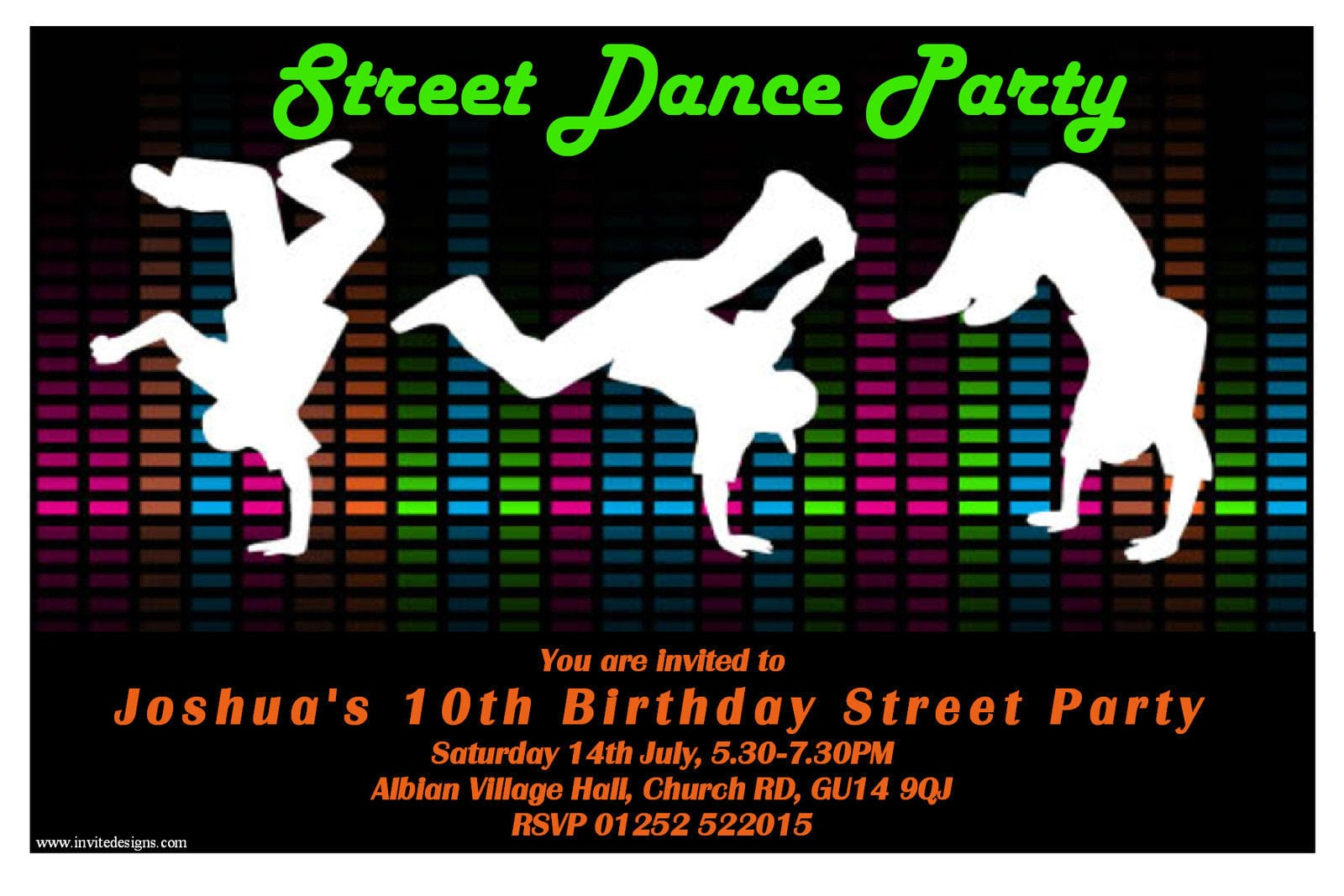 10 Personalised Street Dance Birthday Party Invitations N104 Any