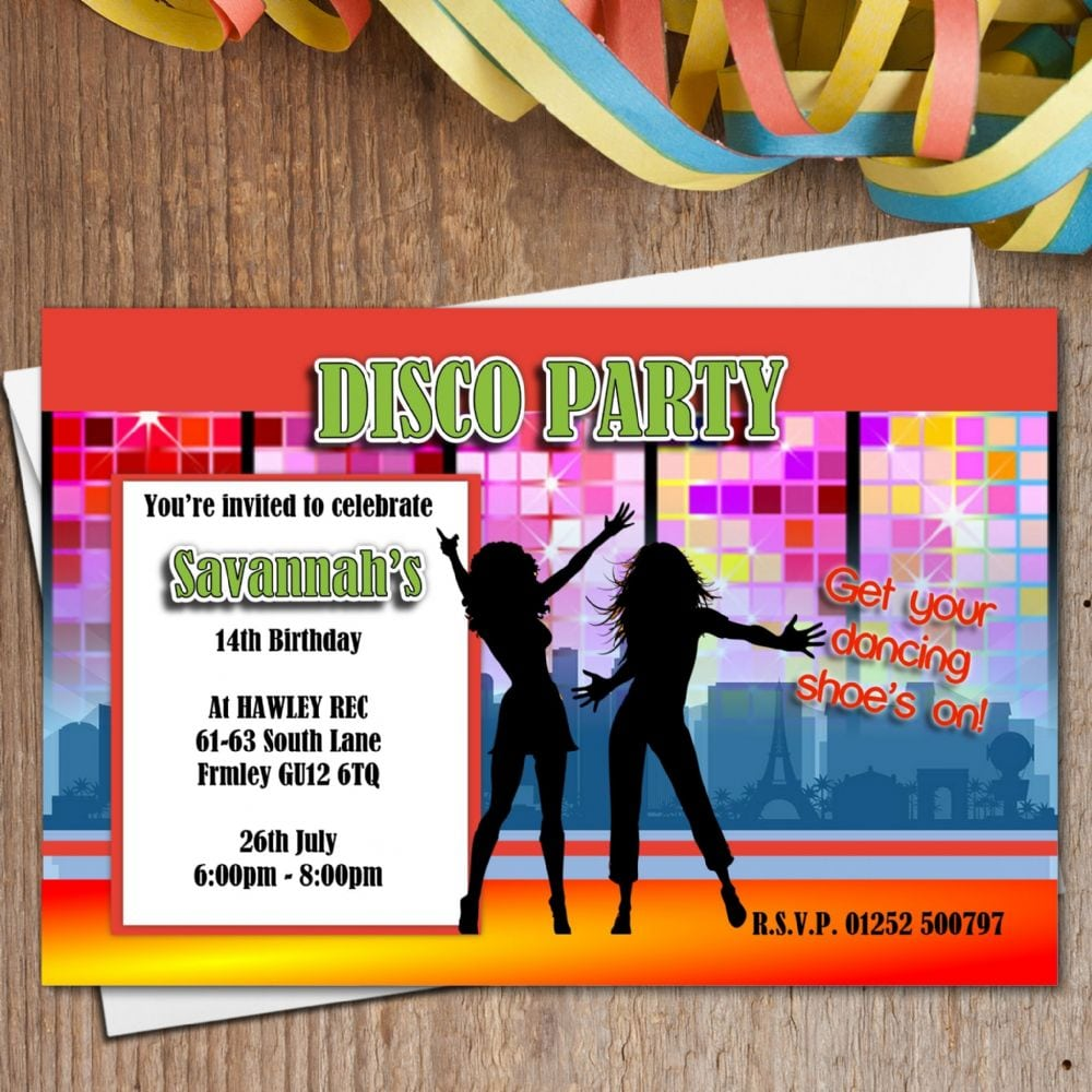 10 Personalised Street Dance Disco Birthday Party Invitations N167