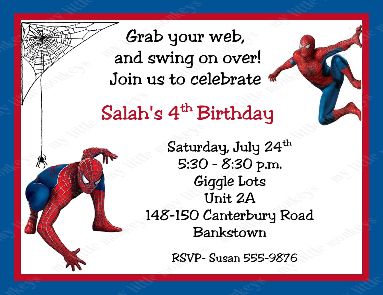 10 Spiderman Birthday Invitations With Envelopes  Free Return