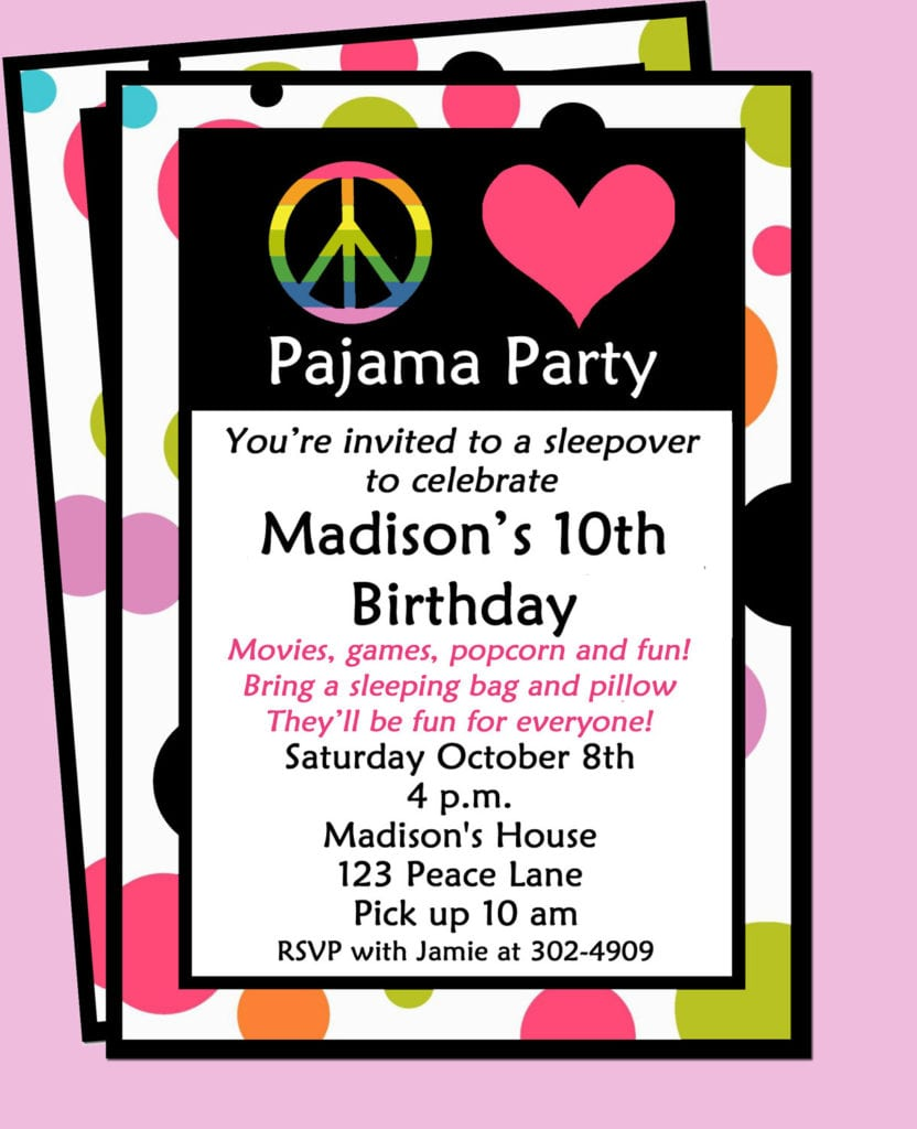 10th Birthday Invitation Wording Sleepover Invitation Printable Or