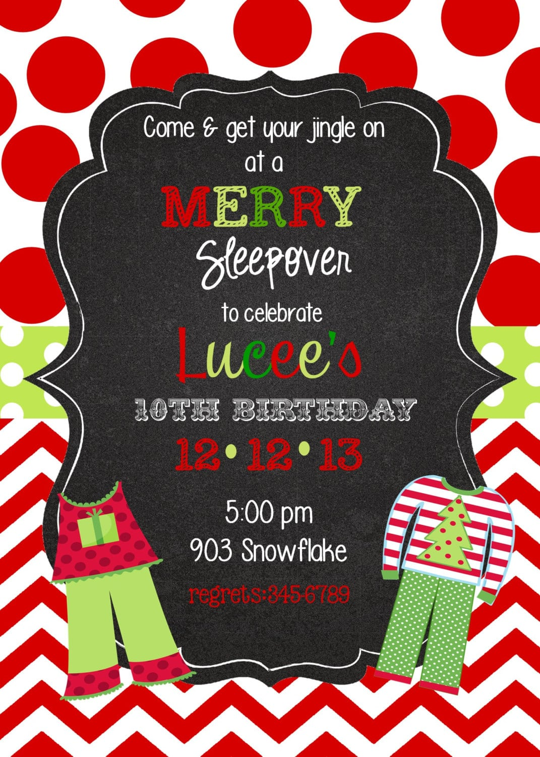 12 Christmas Pajama Party Invitations With By Stickerchic