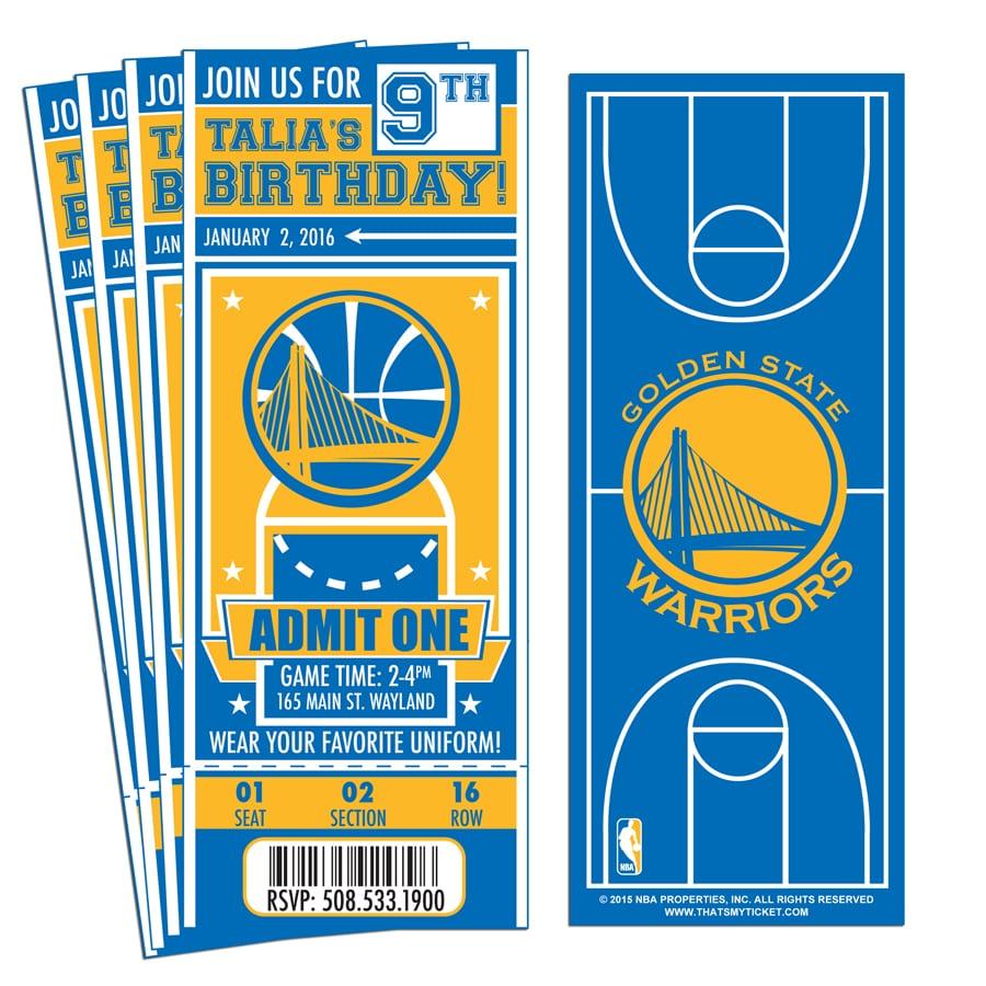 12) Custom Golden State Warriors Birthday Party Ticket Invitations