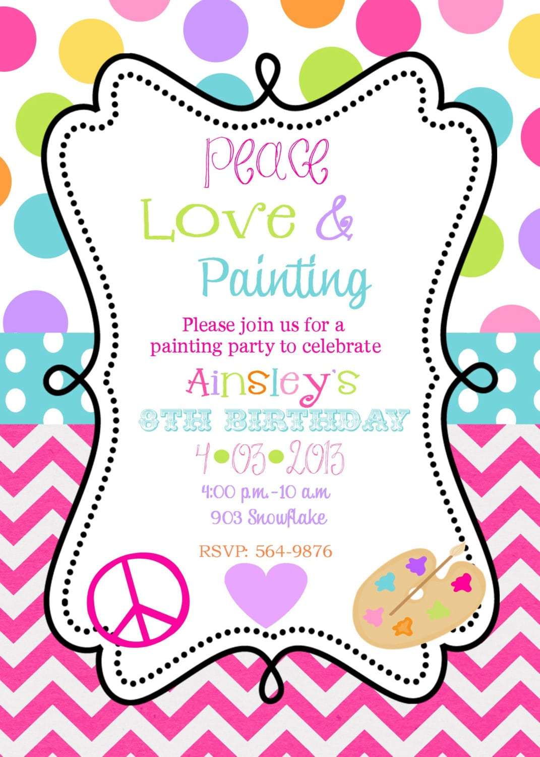 12 Peace Love Painting Party Birthday Invitations With Envelopes