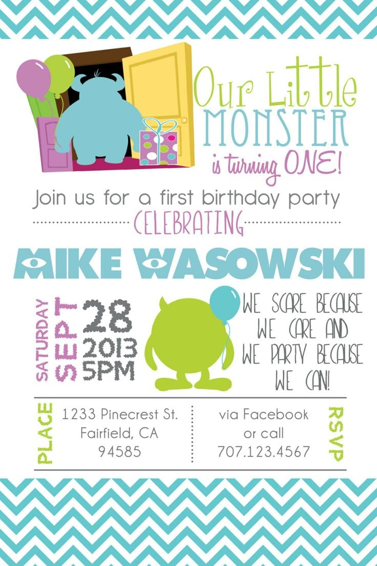 Monsters Inc Birthday Party Invitations - Mickey Mouse Invitations ...