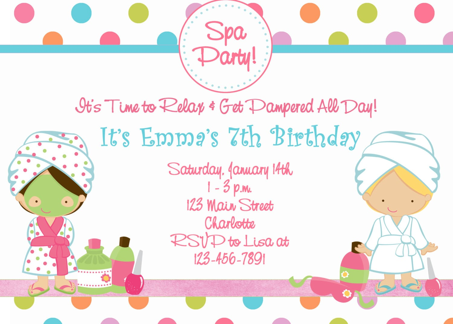 17 Best Ideas About Spa Party Invitations On Pinterest
