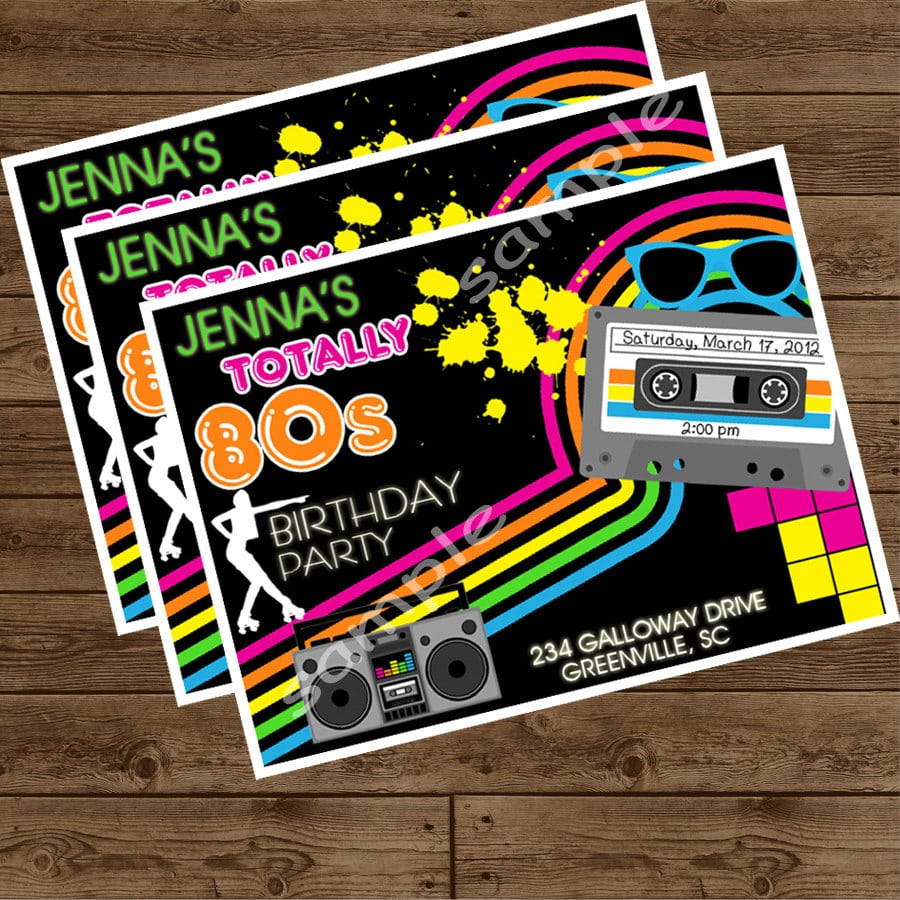 80s Party Invitations - Mickey Mouse Invitations Templates