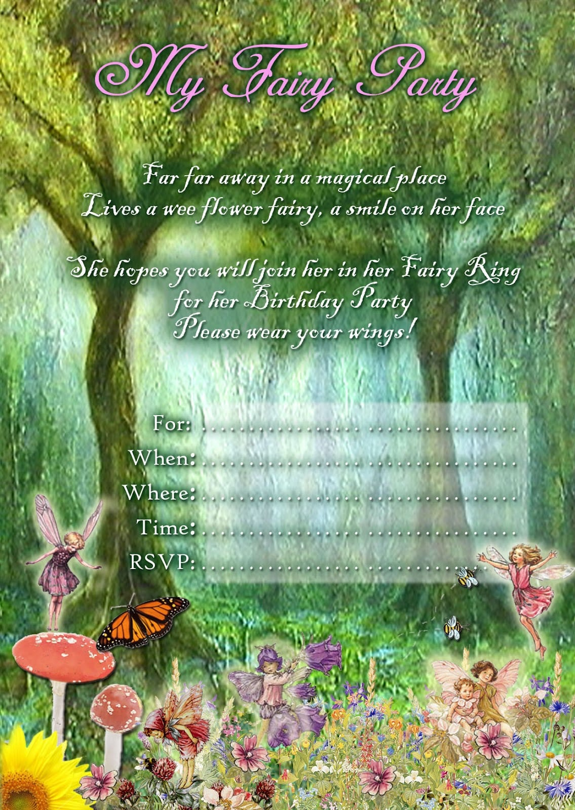 Fairy Party Invitations Free Printable - Mickey Mouse Invitations ...